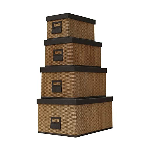 Heding Storage Basket Desktop Storage Box Clothes Small Objects Toy Handmade Smooth High Capacity Foldable Wardrobe Bamboo, 4 Piece Set (Color : BROWN, Size : BROWN)
