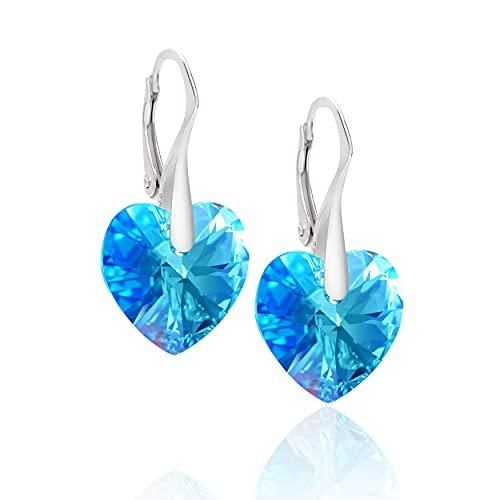 LillyMarie Pendientes para mujer plata de ley 925, con Elementos Swarovski azul, Corazón, con caja de joyas