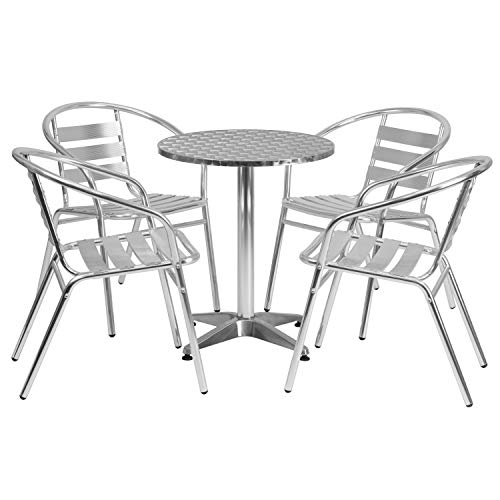Flash Furniture 23.5'' Round Aluminum Indoor-Outdoor Table Set with 4 Slat Back Chairs