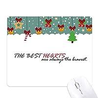 スローガンは最高の心は常に勇敢なです ゲーム用スライドゴムのマウスパッドクリスマス
