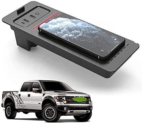 Cargador inalámbrico para automóvil para F-150 2017 2018 2019 2020, Cargador de teléfono de Carga rápida de 15 W con Dos Puertos USB QC 3.0 de 18 W para iPhone Samsung