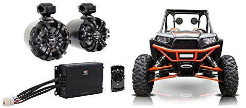 "2) Rockville 6.5"" Black Tower Speakers+MB QUART Amp+Bluetooth 4 RZR/ATV/UTV/Cart"