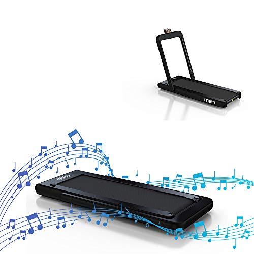 Fitifito ST100 Edles Laufband Profilaufband 1.0-12 km/h Bluetooth Fernbedienung komplett klappbar verstaubar mit Handyhalter schwarz