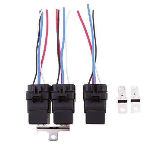 LIPENLI 3 Conjuntos de 24V 40A de Coches Automoción 4 Pin SPST relé y 4 Cables del mazo