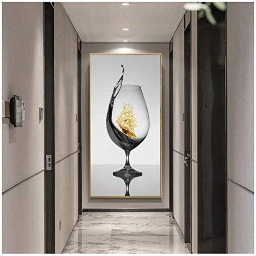 ZQXXX Copa de vino con velero Imagen de arte abstracto romántico en lienzo para galería Comedor Bar Decoración para el hogar Póster -50x100cm Sin marco