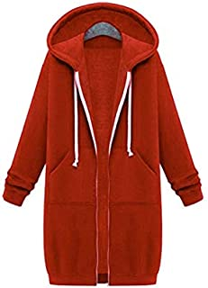 YYuzhongfenM Super Long Plus Velvet Plus David Clothing Female Large Size Loose Hooded Jacket Cardigan Women (Color : Orange, Size : 4XL)