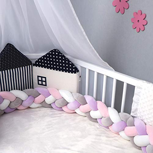Baby Braided Crib Bumper Soft Knot Pillow Cushion Bedding Sheets for Boys Girls Baby Room Decor (2 Meters,9 Colors Choice) (G)