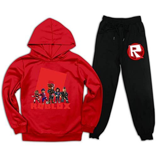 Ro-B-Lox Pullover Anzug Kinder Hoodies Gym Sweatpants Trainingsanzug Pullover für Jungen Mädchen Gr. L, rot / schwarz