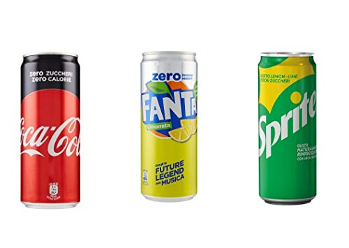 Testpaket Fanta Lemon Zero Coca-Cola Zero Sprite Limone Lime Kohlensäurehaltige Getränke ( 72 x 330ml ) alkoholfreies Getränk Softdrink