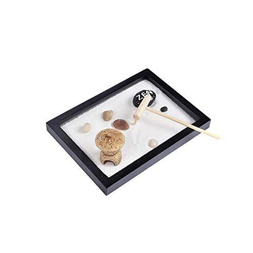 Bozaap Mini jardín Zen con rastrillo puente de arena y rocas mesa decorativa manualidades para oficina en casa
