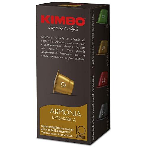 KIMBO Armonia 100% arabica - 100 Cápsulas compatibles con cafeteras Nespresso* - 10 Paquetes de 10 Unidades