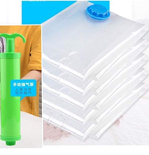 Premium Vacuum Storage Bags One Package of 7Pcs with Free Hand Pump Durable Space Saver Bags Best for Clothes, Bedding, Duvets, Towels, Curtains and Traveling