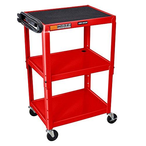 Luxor AVJ42-RD - Adjustable Height Steel A/V Cart - Three Shelves, Red