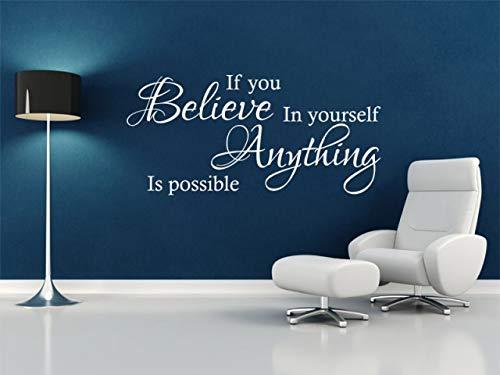 Adhesivo decorativo para pared, diseño de texto en inglés 'If You Believe' (PVC, 57 cm de ancho x 29 cm de alto), color gris