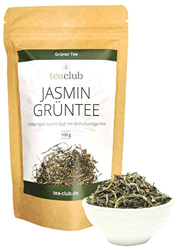 Jasmintee Lose 100g, Grüner Tee mit Jasminblüten echt Aromatisiert, Jasmin Grüntee mit ausgeprägtem Jasmin-Duft, TeaClub Green Tea