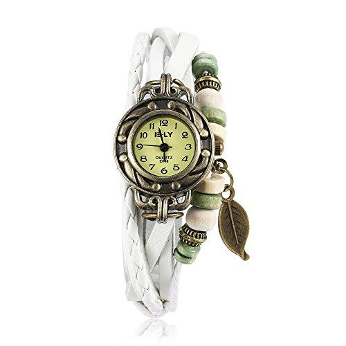 iLove EU Orologio da polso da donna, stile retrò, con albero e foglie in pelle, analogico, al quarzo, colore: bianco
