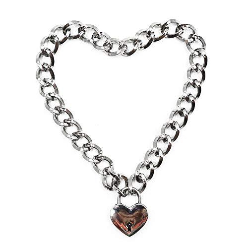 SWAOOS Fashion Women Punk Cool Collar Collar Slave Game Pet Heart-Shape Candado Metal Gargantilla Collar
