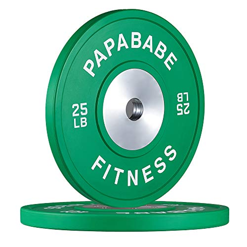 papababe Competition Rubber Bumper Plates, 2 inch Olympic Weights Plates Professional Strength Training Plates