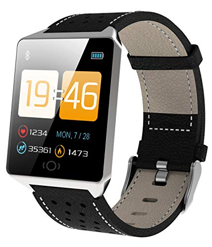 Fitness Tracker Heart Rate Monitor Activity Tracker Pedometer Watch Leather Smart Wristband for Android iOS