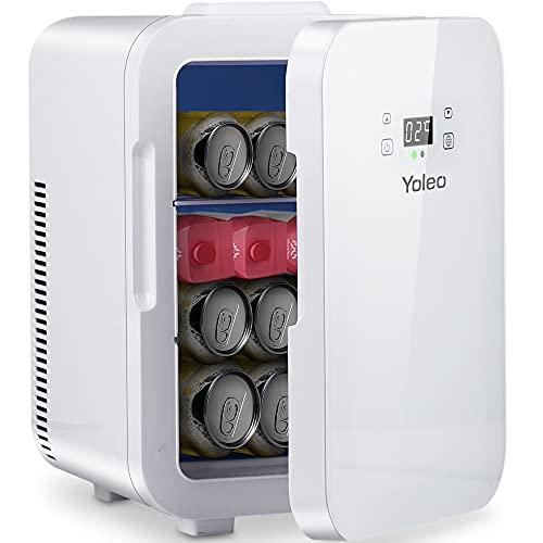 Yoleo mini frigo, riscaldamento e raffreddamento, -9°~65° regolabile, frigo piccolo 10L, mini frigo con congelatore, compatto e pratico, uso in macchina ufficio camera, 25 dB silenzioso, bianco