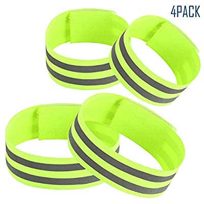 Reflective Wristbands, Visible Ankle Bands, 360° Highly Reflective Armbands, High Visibility Leg Straps, Safety for Jogging, Walking, Cycling, 4 Pcs (Set of 4)