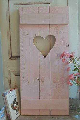 windschief-living Landhaus Fensterladen ROSA mit Herz,Shabby Antique chic Handgefertigt