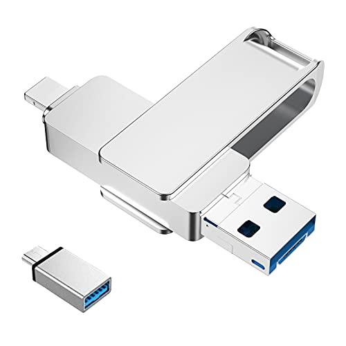 USB Stick Kompatibel mit iPhone 128GB Externer Speichererweiterung Photo Stick 4 in 1 USB C 3.0 Handy Memory Stick Speicher Kompatibel mit Android Mac Laptop Tablet PC iOS OTG(Silber)