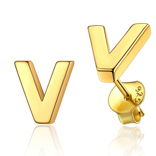 Gold Earrings Studs Of Initial V Hypoallergenic Lightweight Gift For Fiance 18K Gold Plated 925 Sterling Silver Jewellery For Men Alphabet Letter Earring