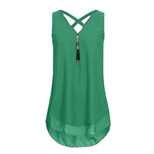 VENMO Damen Bekleidung T Shirt Bluse Tank Top Damen Camisole Sommer Lose Weste Lila Wein Mintgrün Army grün Große Größe Mode 2018 Cross Hem Layed Zipper V-Neck Shirts Tops (Sexy Army Green, L)