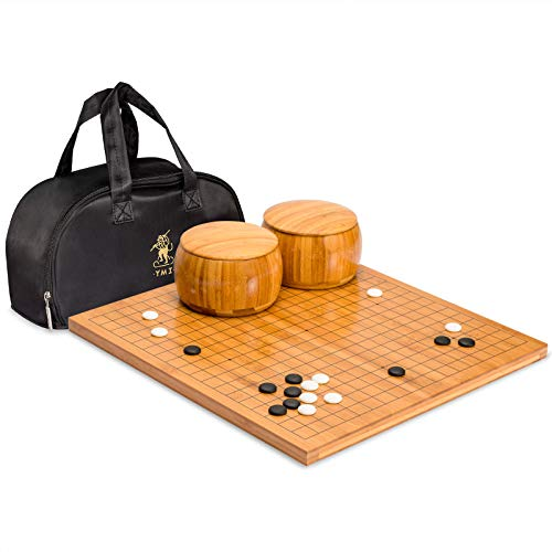 Yellow Mountain Imports Go Game Set with Bamboo Go Board - 0.8 Inch Bamboo Board - Sustainably Sourced - Single Convex Yunzi Stones - Reversible 19x19 and 13x13 Playing Grids