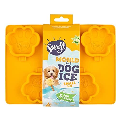 Smoofl Silikon Eisform Fuer Hunde, EIS zum Selbermachen als leckeren veganen Hundesnack zur Abkuehlung im Sommer, kleine Form zur Herstellung von 5 EIS Fuer kleine Hunde, orange