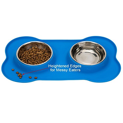 Näpfe für Kleine Hunde Katzen Kaninchen, Foxom 2 * 175ml Hundenäpfe Katzenäpfe Doppel-Fressnapf Futternapf Edelstahl mit Silikonunterseite Rutschfest, 14.3*8.2*1.3 Inch, Blau - 2