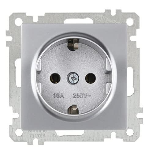 Enchufe empotrado simple · Plateado · Interruptor empotrable Serie Candela