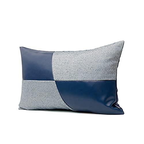 Costa de cuero azul Sofá Cojín de cojín (con núcleo), Cubiertas de almohadas de lanza gris decorativas para el hogar Establecer caja de cojín para sofá, sala de estar sofá sofá cama 30x50 cm / 12x20 p
