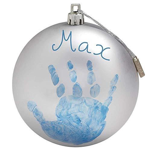 Baby Art My Christmas Fairy Adorno de Navidad con Huella de mano de bebé, Bola personalizad para árbol, Adorno navideño original, Plata