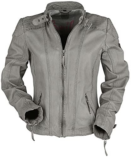 Damen Bikerjacke Lederjacke GGPacey LVTW Jacke pflanzlich gegerbt Grau in verschiedenen Größen, Farbe:light grey, Größe:3XL