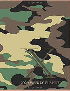 """2020 Weekly Planner X: This camouflage multi-Color Monogrammed """"X"""", 8.5"""" x 11"""" one page monthly, two page weekly with holi..."""