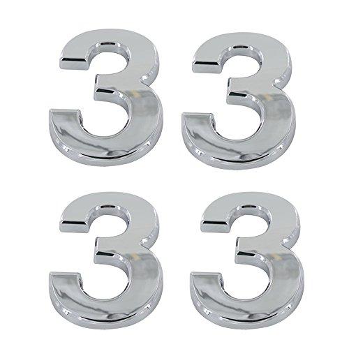 Tocone 4pcs Número Casa 0 a 9 Signo Vivienda Calle Números Placas de Dirección Número de Casa para Puerta, Casa, Buzón, Hotel, Plata 5cm (3)