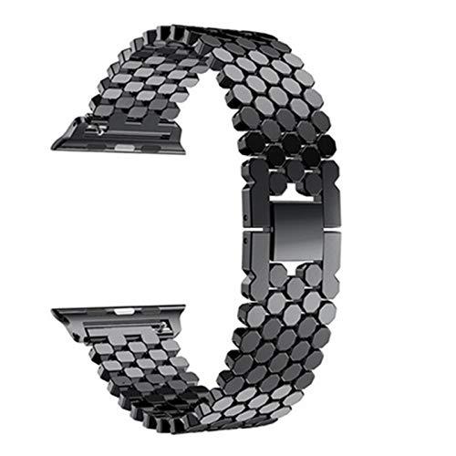 PZZZHF Correa para la Banda de Reloj de Apple 44mm 40 mm para Banda de iWatch 42mm 38mm de Acero Inoxidable Reloj de Reloj de Reloj de Reloj para la Serie 6 5 4 3, 38/44 mm