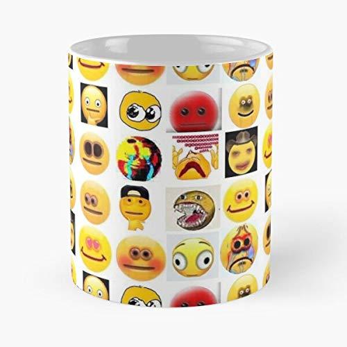 Ultimate Emojis – La taza tiene la mano 11 oz de mármol blanco impreso en cerámica, diseño de tendencia que Je personalize
