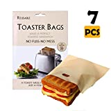 YAASO Reusable Toaster Bags Non-Stick Toastie Bags Gluten Free Sandwich Snack Cheese Panini Toast Bag Set for Microwave Toaster Oven | Total 7 Packs | Reusable Up to 100 Times