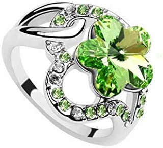 Robella Swarovski Elements Ring Encrusted With Green Swarovski Crystals ROB-039 Size 6