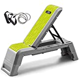 leikefitness Multifunctional Aerobic Deck with Cord Workout Platform Adjustable Dumbbell Bench Weight Bench Professional Fitness Equipment for Home Gym GM5820(Green)