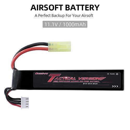 Funien Batería de Airsoft, Bosli-Po 11,1 V 1000 Mah Lipo Batería de Airsoft para Airsoft G36C M4A1-Ris M4A1 Car15 Mp5A5 Mc51 Fnp90 Augrt Augm G3A4 G36 Steyr