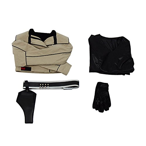 Xiao Maomi Qi'Ra Costume Halloween Hot Movie Cosplay Full Set Women Jacket Shirt with Belt Gloves for Parade Carnival Party (US Women-S, Black Beige)