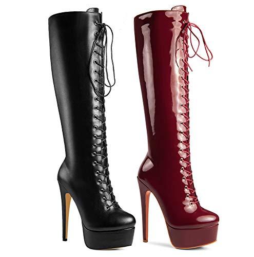 ANN CREEK 'Niwen' High Fashion Ultra High Stiletto Heels Platform Lace Up Boots Black 8