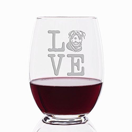 Love Rottweiler Engraved Stemless 21 oz Wine Glass - 4pcs
