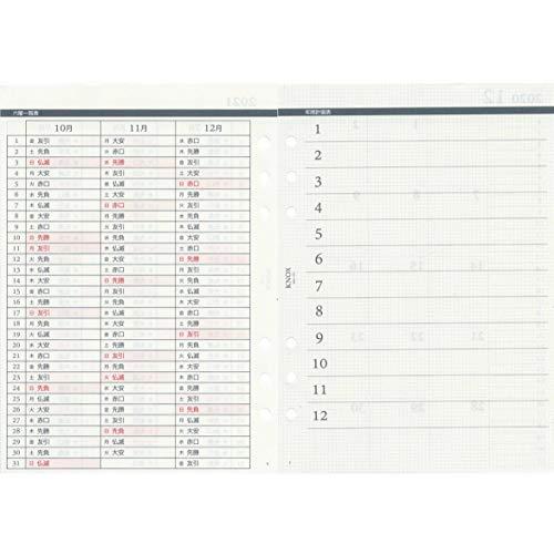 ノックスシステム手帳リフィル2021年A5ウィークリー日付入見開き1ケ月間ブロック式+片面1週間片面メモ52415221(2020年12月始まり)