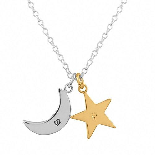 Colgante personalizado estrella de plata esterlina bañada en oro de 24K & media luna plata esterlina
