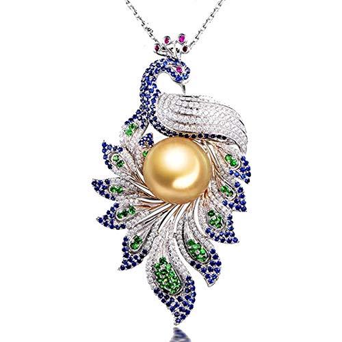 Dreamdge 18K Oro Bianco Collana Phenix Collana Dorata Ragazza, 2.55ct Oro Perla Blu Zaffiro Collana